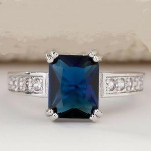 Elegant 925 Silver Blue Sapphire Lab Gemstone & CZ